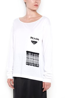 PRADA long sleeves t-shirt with pearls and fringes