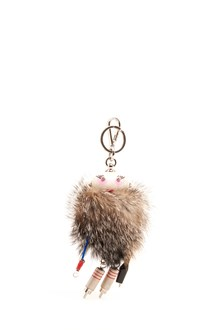 PRADA fur and metallic keyring