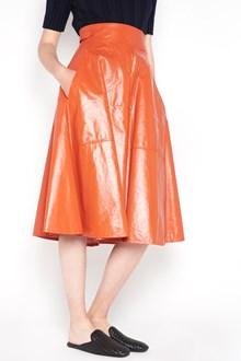 BOTTEGA VENETA Shiny bonded lamb leather skirt