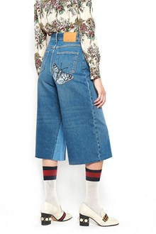 GUCCI coulotte cropped denim with butterfly patch
