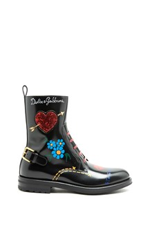 DOLCE & GABBANA Biker boots in glossy leather with text