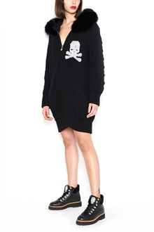 PHILIPP PLEIN maxi sweatshirt with pearls skull and fur hood