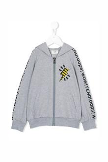FENDI KIDS Hooded zipped sweatshirt with logo prints