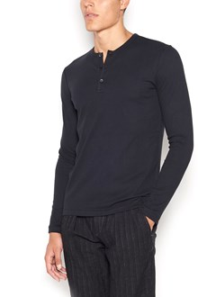 MAJESTIC FILATURES cotton 'serafino' long sleeves t-shirt with buttons