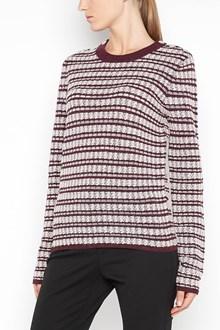 CARVEN Cotton fabric striped sweatshirt with contrasting crewneck collar
