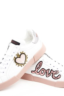 DOLCE & GABBANA leather sneaker with 'love' patch