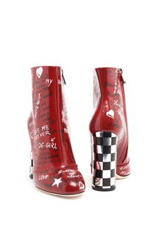 DOLCE & GABBANA leather ankle boots with written print and chess heel