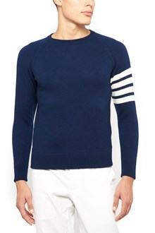 THOM BROWNE Cashemere crew neck sweater with 4 stripes on sleeves