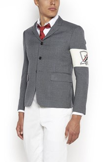 THOM BROWNE wool jacket with embroidery logo on sleeve and patch