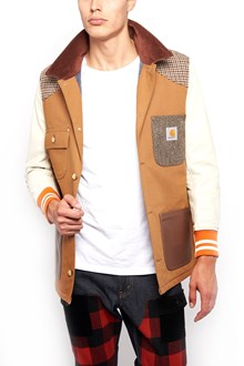 JUNYA WATANABE Bomber Jacket with Leather sleeves and check Details