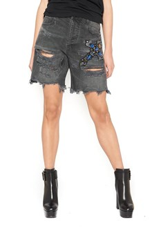 FAITH CONNEXION 'Cross' destroyed and embroidered Shorts