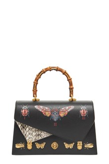 GUCCI Hand Bag with 'Butterfly' print and Bamboo Handle