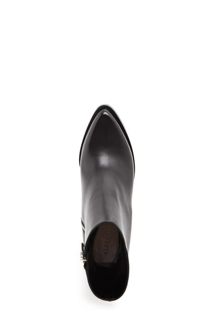 ALEXANDER MCQUEEN Leather Ankle Boots with silver hardware