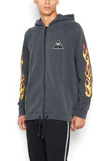 PALM ANGELS Oversize zipped embroidered printed  hoodie