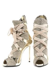 GIUSEPPE ZANOTTI Lurex Ankle Boots with Stiletto Heels