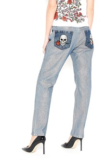PHILIPP PLEIN Boyfriend jeans with skull prints on the pockets