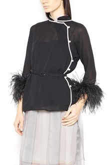 PRADA blouse with Ostrich Feathers cuffs