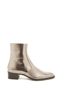 SAINT LAURENT silver ankle boots