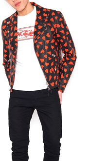 J.W.ANDERSON all over printed heart biker jacket