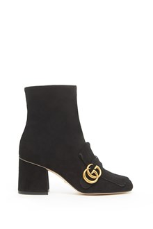 GUCCI 'Marmont' suede fringed bootie with gold 'GG'
