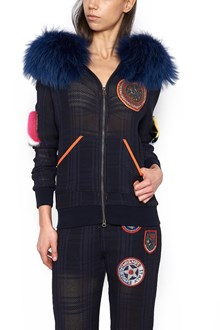 MR & MRS ITALY fur patch hoodie