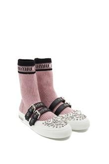 MIU MIU lurex socks ballet flats
