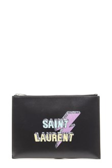SAINT LAURENT thunder logo i-pad pouch