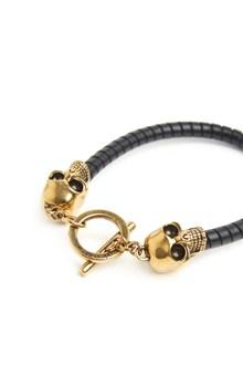 ALEXANDER MCQUEEN gold skulls bracelet
