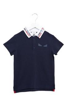 FENDI KIDS lettering collar polo