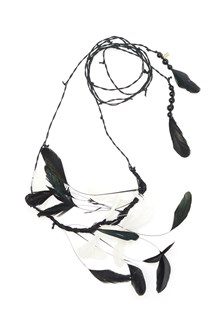 ANN DEMEULEMEESTER rooster feathers necklace