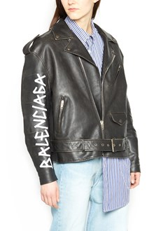 BALENCIAGA logo leather jacket