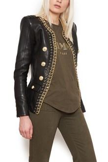 BALMAIN giacca in pelle catena
