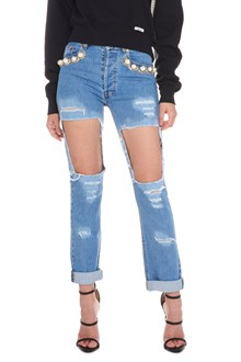 FORTE DEI MARMI COUTURE applicated pearls jeans
