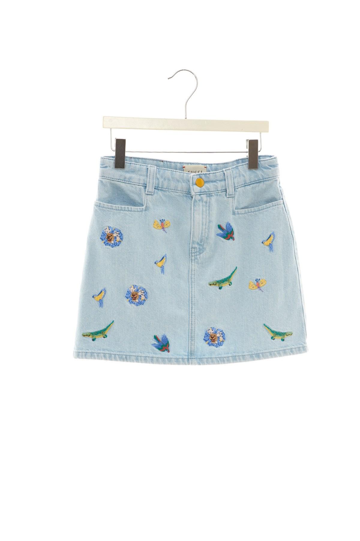 3c23bb46 Gucci Embroidered Denim Skirt - raveitsafe